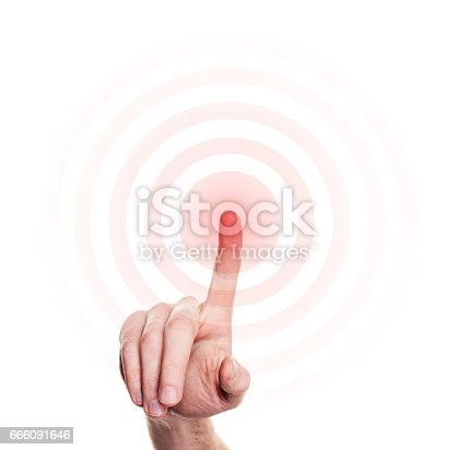 istock Hand Press on Red Button on White Background 666091646