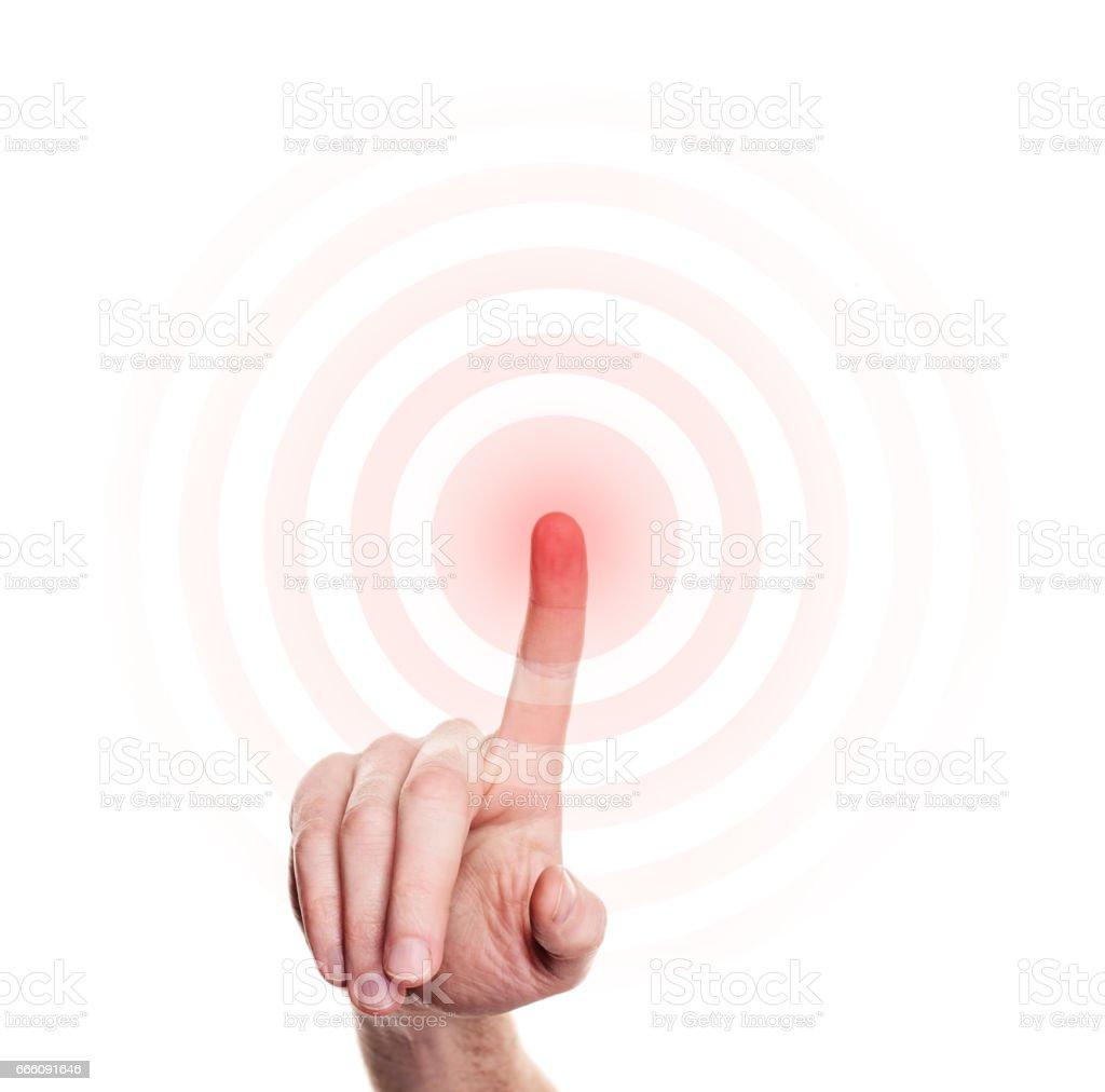 Imprensa de mão no botão vermelho no fundo branco - foto de acervo