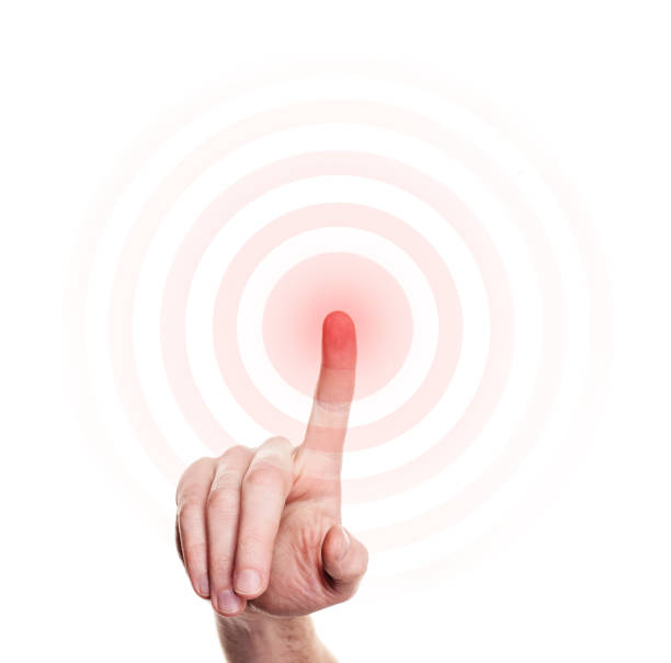 Hand Press on Red Button on White Background stock photo