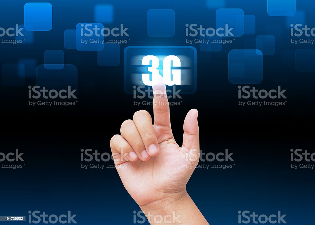Hand pressing 3G buttons with technology background stock photo