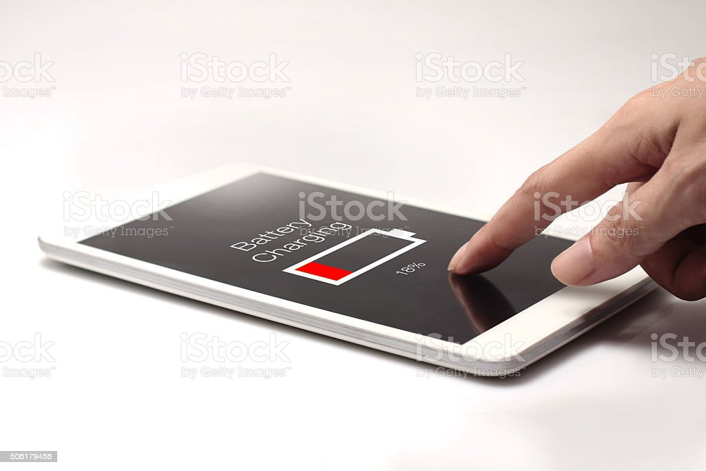 Hand pressing battery icon stock photo