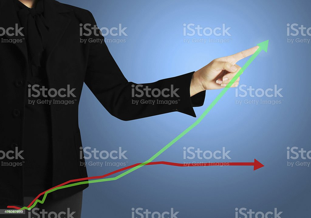hand pressing chart button royalty-free stock photo