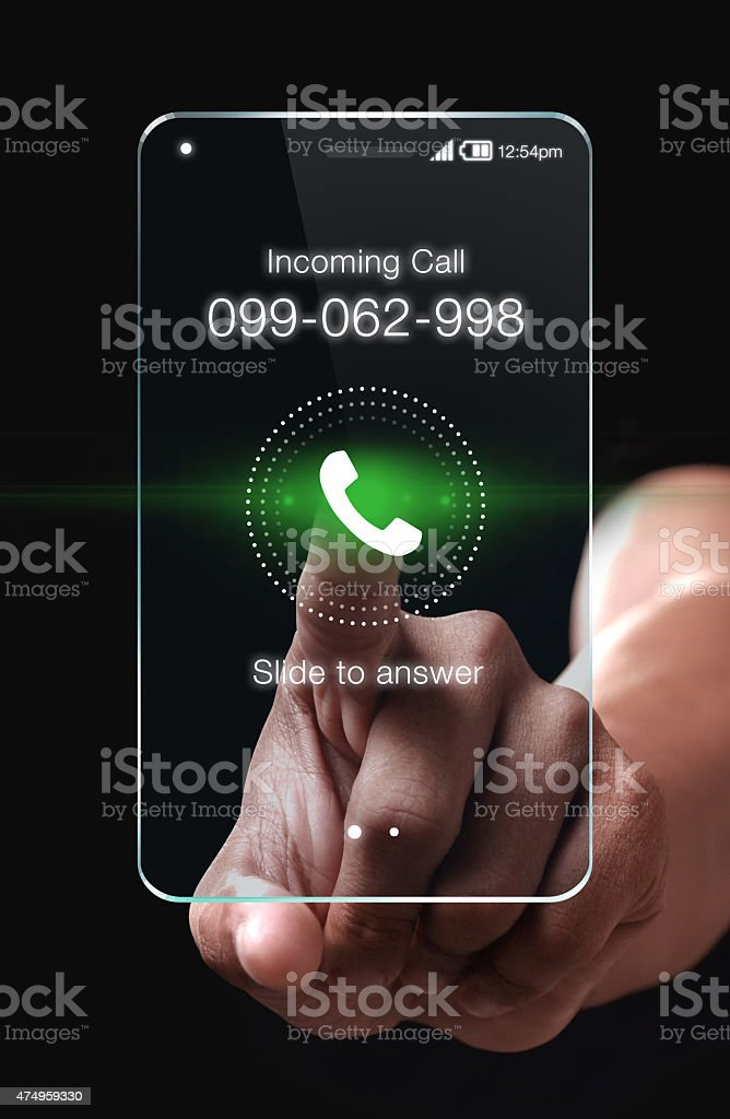 Hand pressing Incoming call icon on smartphone stock photo