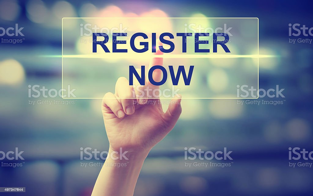 Hand pressing Register Now stock photo