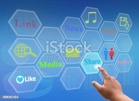 istock hand pressing social media with button virtual screen 488082454