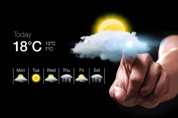 ハンドプレスバーチャル天気アイコン ストックフォト