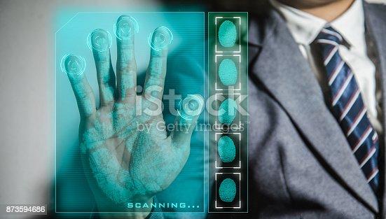 istock Hand print biometric 873594686