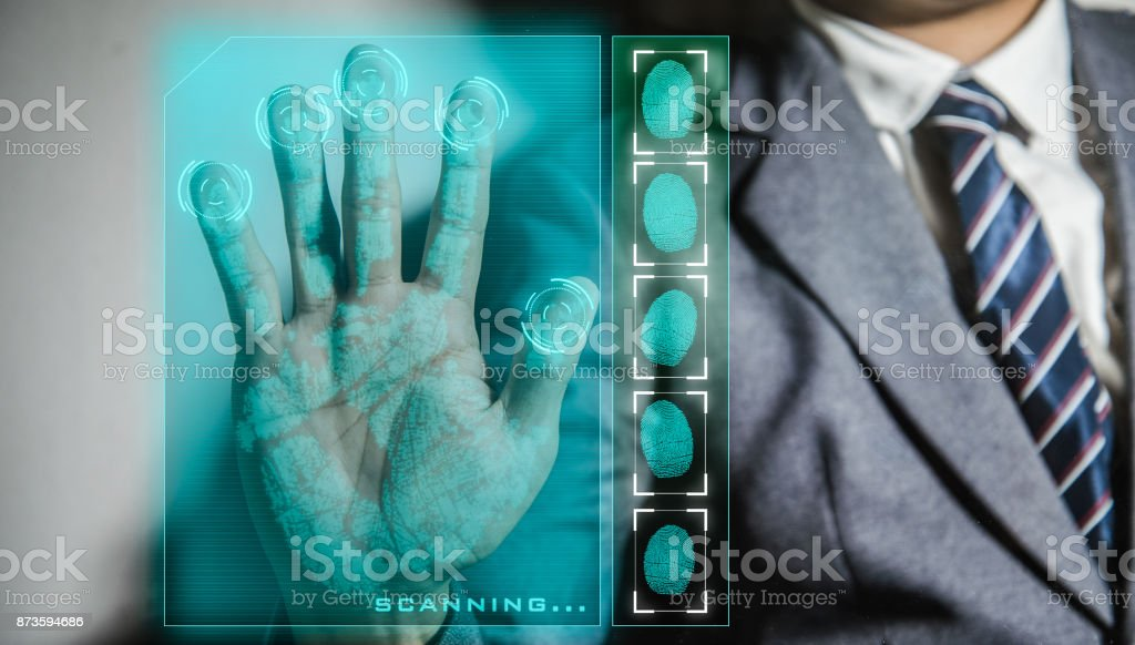 Hand print biometric stock photo