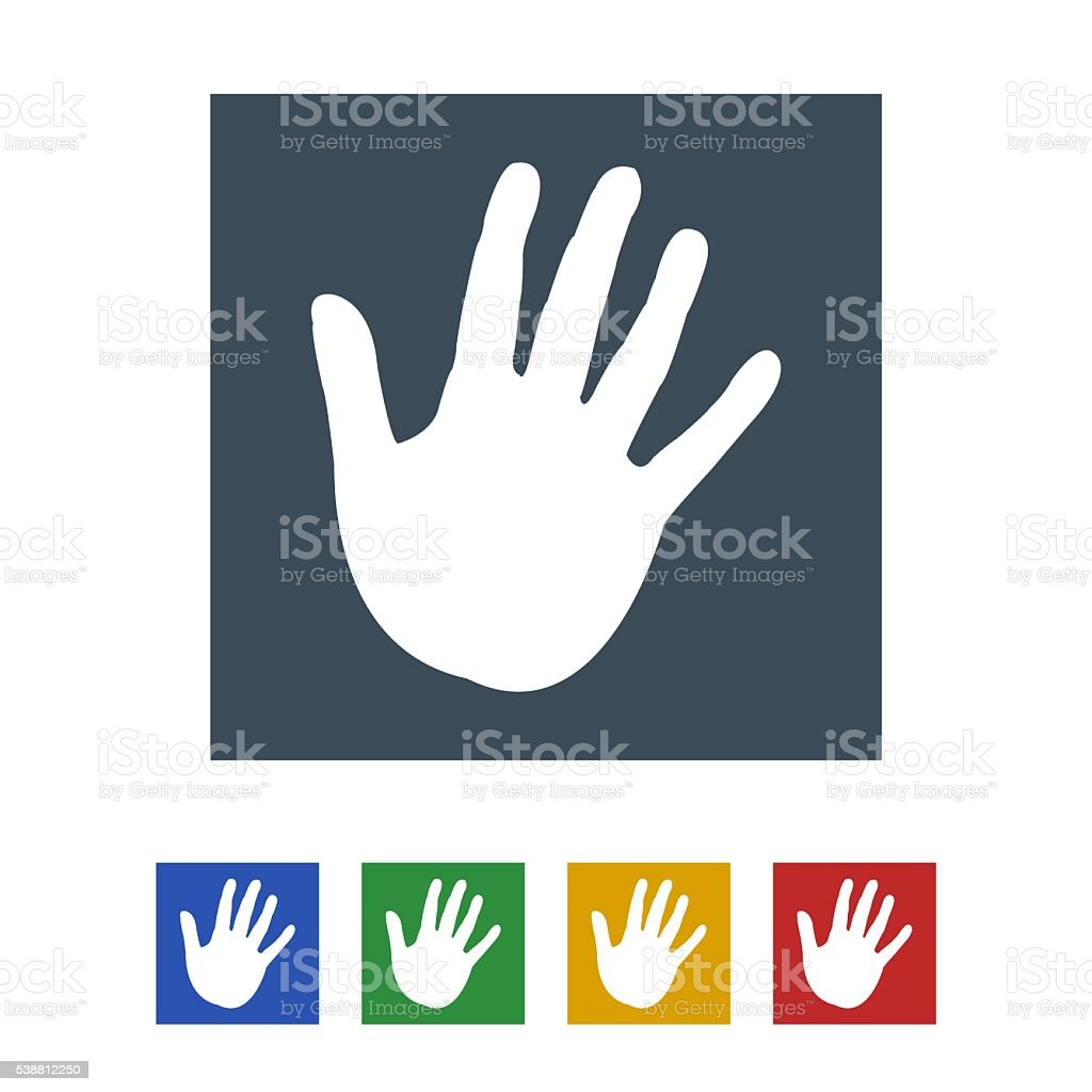 hand print icon isolated on white background stock photo