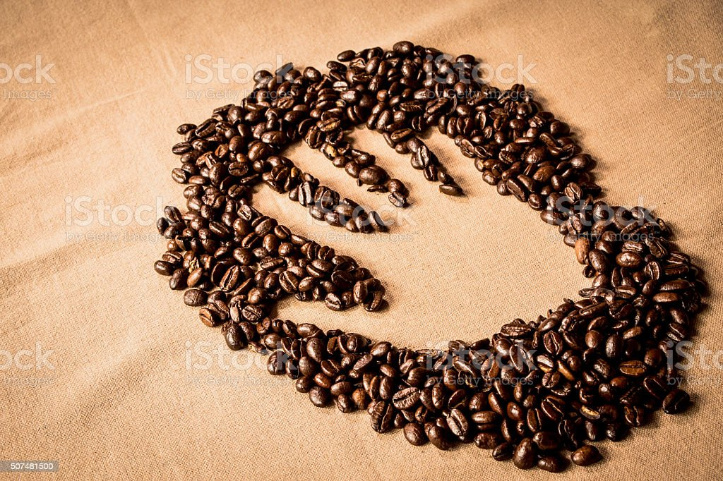 Hand print in Coffee stock photo