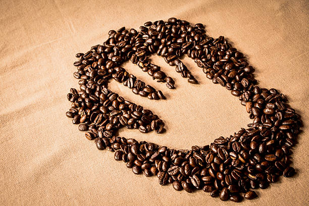 Hand print in Coffee stock photo