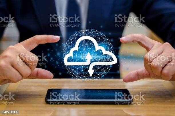 Hand Print Keyboard Phone Press Enter Button On The Computer Hand Businessman Connect Cloud Collect Data Cloud Computing Concept Businessman Or Information Computing Icon Stock Photo - Download Image Now