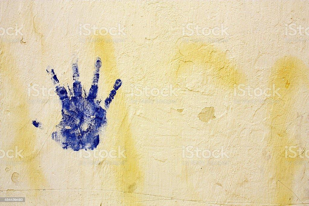 hand print on wall royalty-free stock photo