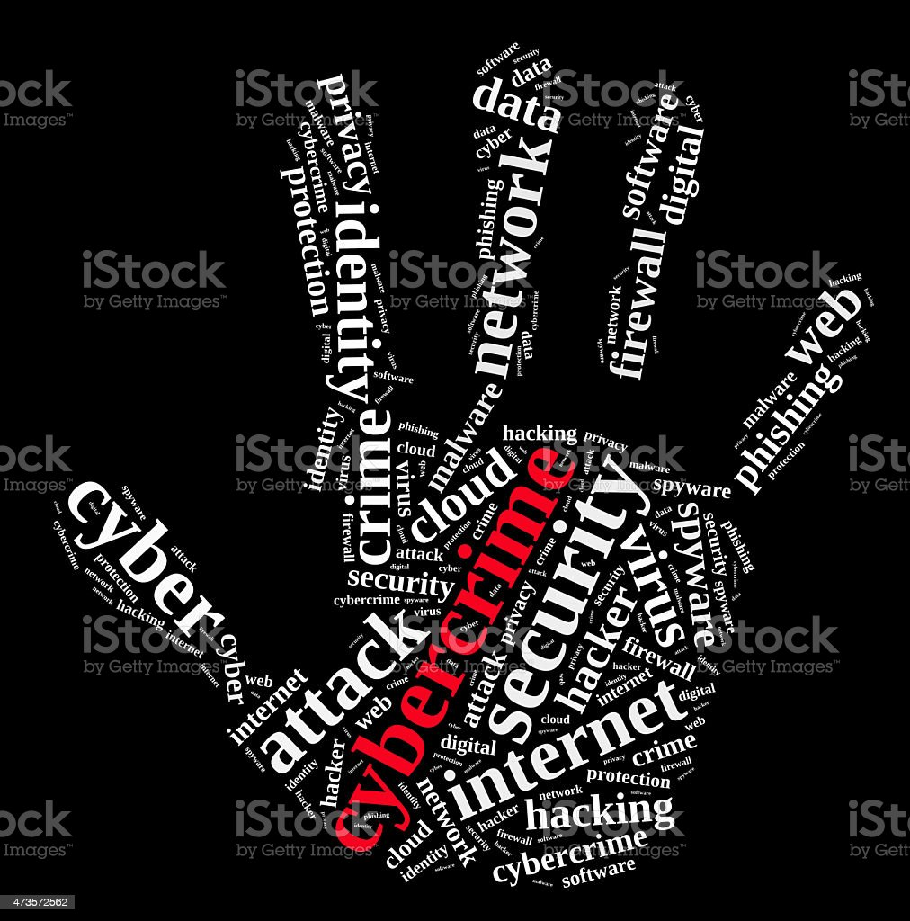 Hand print with words about cybercrime stock photo