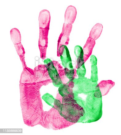 Hand prints of father and daughter.