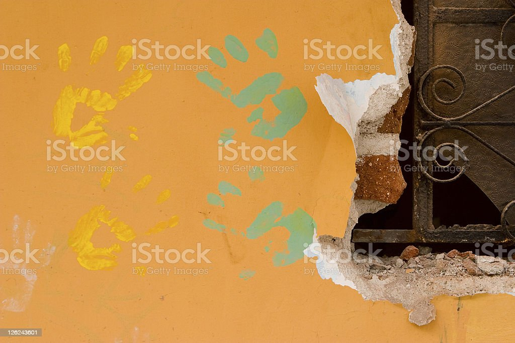Hand Prints on Orange Wall, Paint, Urban Art, Grunge royalty-free stock photo
