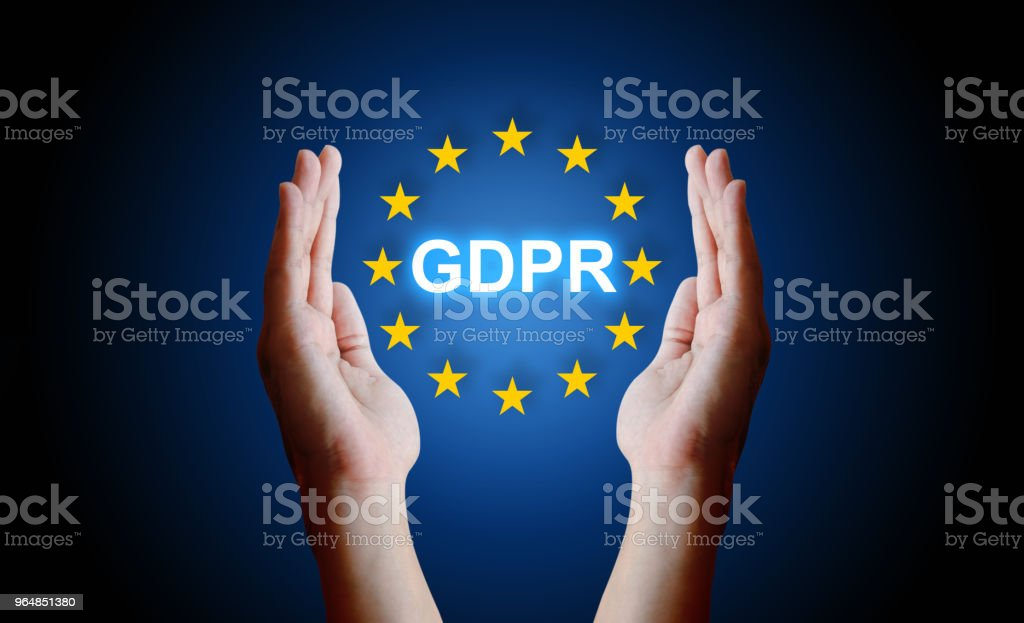 Hand protection sign general data protection regulation (GDPR). royalty-free stock photo