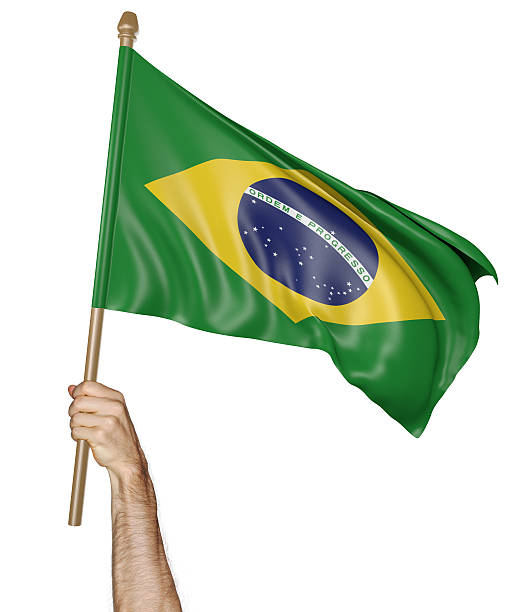 hand proudly waving the national flag of brazil - brasilien flagga bildbanksfoton och bilder