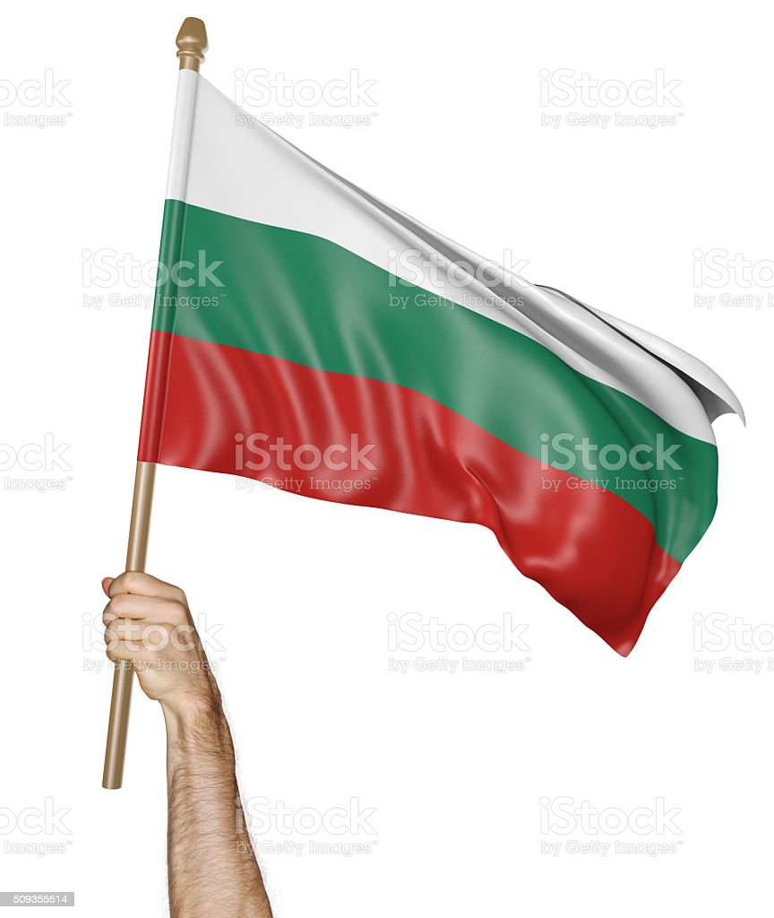 Hand proudly waving the national flag of Bulgaria stock photo
