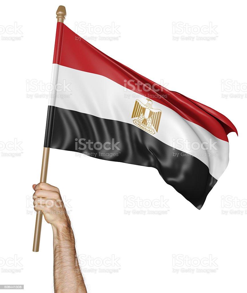 Agitando la mano se enorgullece de bandera Nacional de Egipto - foto de stock