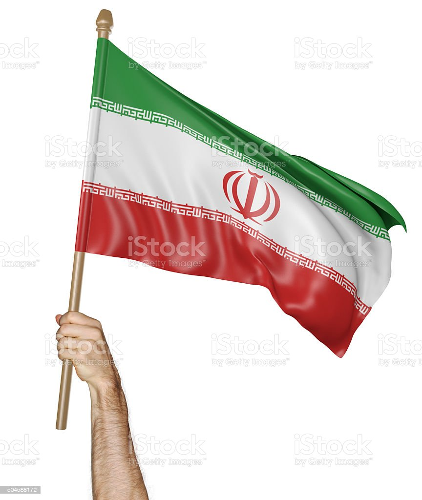 Hand proudly waving the national flag of Iran stock photo