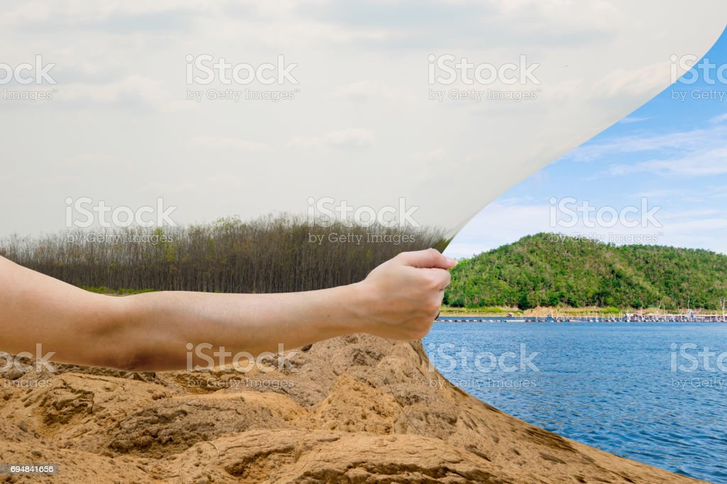 Hand pull The dark sky and the fresh sky stock photo