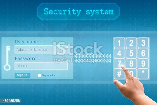 520592332istockphoto Hand pushing a button touch screen interface with security system 489485258