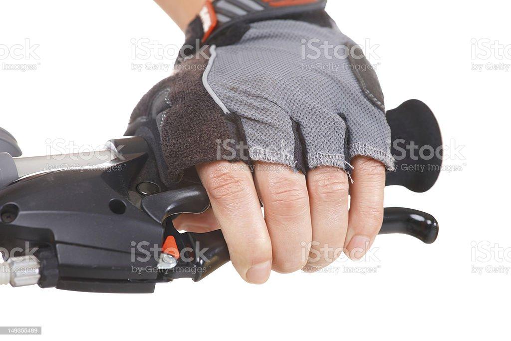 Hand pushing brake lever royalty-free stock photo