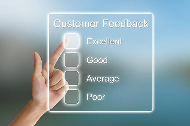 hand pushing customer feedback on virtual screen stock photo