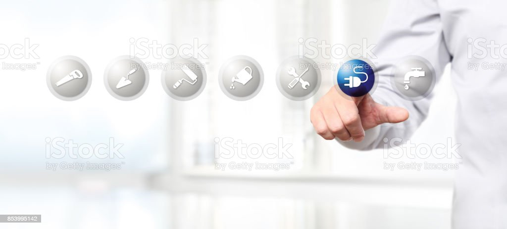Hand Pushing On A Touch Screen Interface Electricity Symbol Icon Web