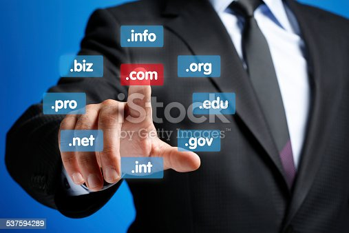 Hand Pushing Virtual Domain Name, Internet concept