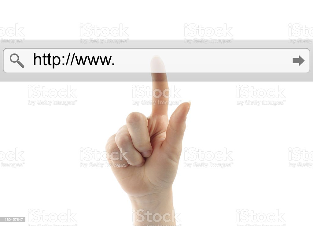 Hand pushing virtual search bar royalty-free stock photo