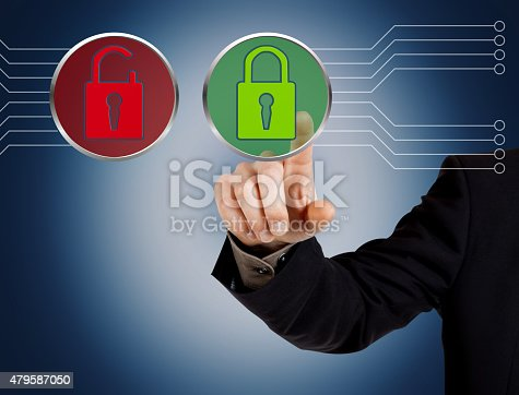 istock Hand pushing virtual security button 479587050