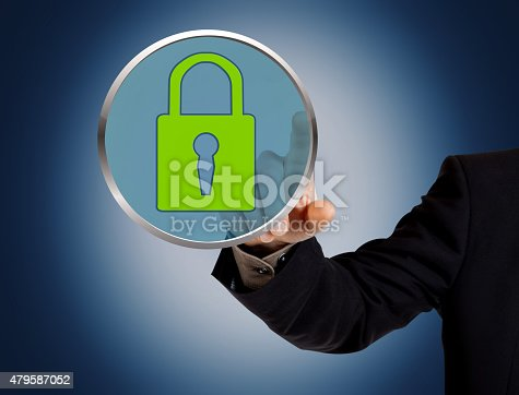 istock Hand pushing virtual security button 479587052