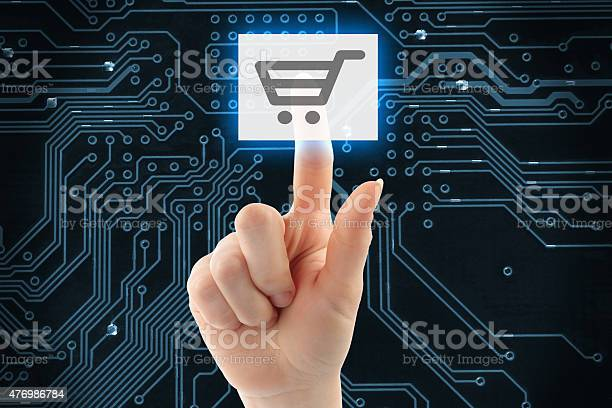 Hand Pushing Virtual Shopping Button Stock Photo - Download Image Now