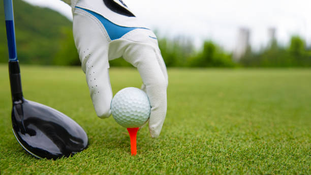 hand putting golf ball on tee in golf course - golf stock photos and pictures