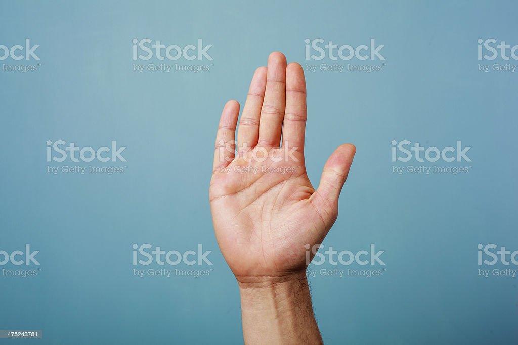 Hand raised stock photo