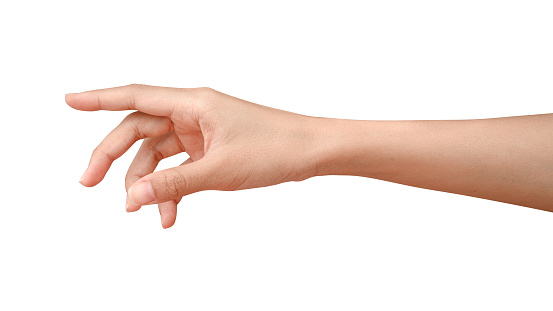 Hand reach and ready to help or receive. Gesture isolated on white background with clipping path. Helping hand outstretched for salvation.