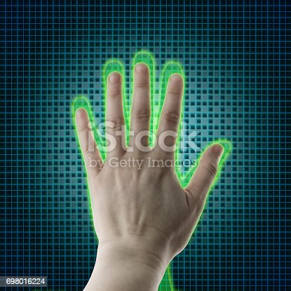 istock AI hand reaches towards a human hand, Virtual reality projection, Artificial intelligence (AI) and High Tech Concept. Human and conceptual cyberspace, smart artificial intelligence. Future science with modern technology. 698016224