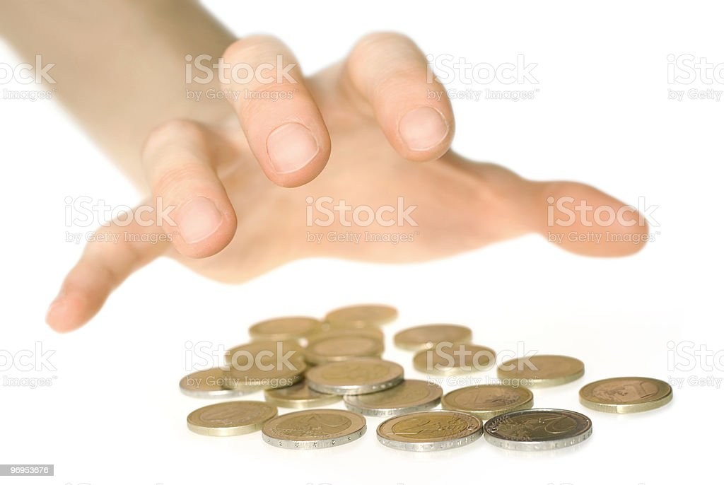 Hand reaching for money royalty-free stock photo