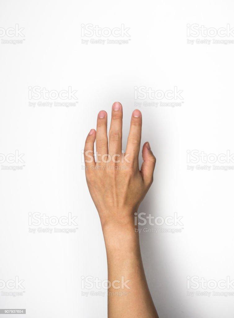 hand reaching on white background stock photo