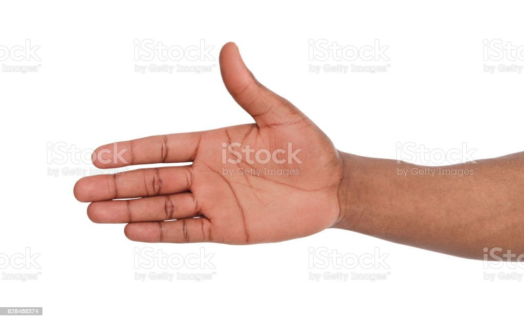 Hand ready for handshake isolated on white stock photo