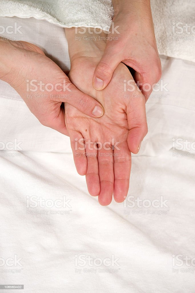 hand reflex zone massage royalty-free stock photo