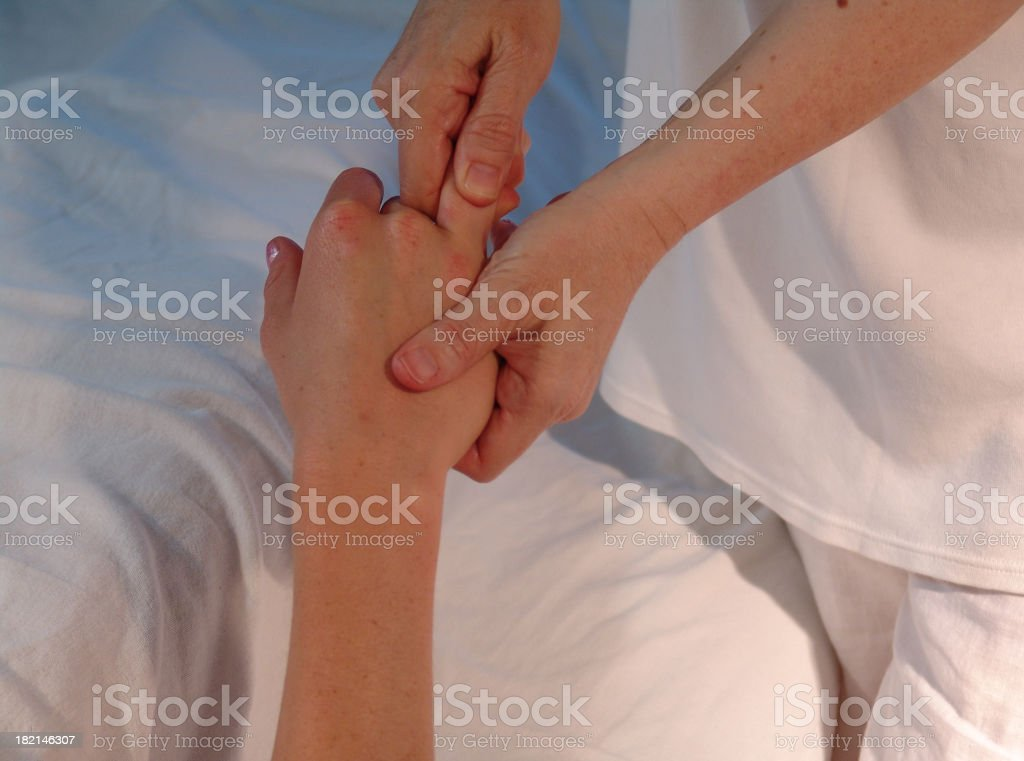 hand reflexology royalty-free stock photo