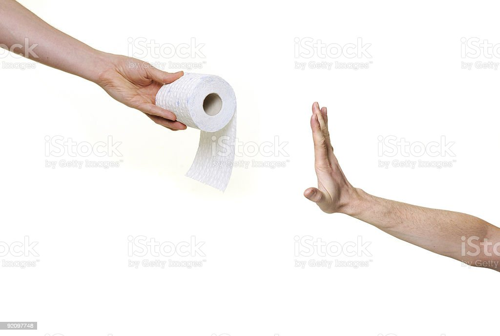 hand rejecting toilet paper royalty-free stock photo