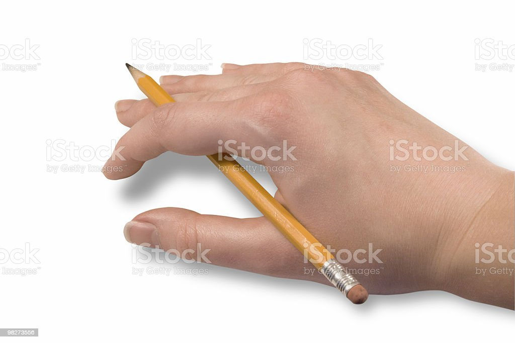 Hand Resting w/ Pencil (Clipping Path) royalty-free stock photo
