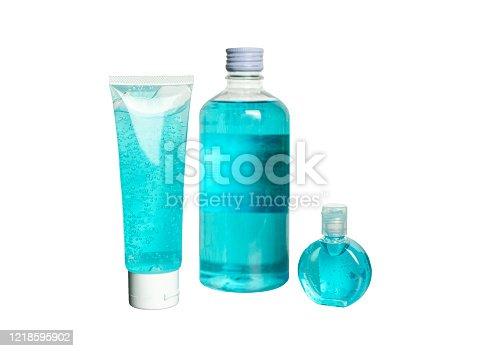Collection of Hand sanitizer bottle, blue alcohol for sterilize virus