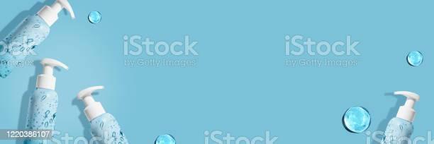 Hand sanitizer bottle on on blue background for covid19 hygiene picture id1220386107?b=1&k=6&m=1220386107&s=612x612&h=rj675seul83vpewpw c7jibeosr6m5nqfxgdwpj9 qe=