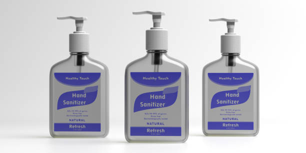 gel desinfectante de manos para la higiene, coronavirus cóvido 19 protección. ilustración 3d - hand sanitizer fotografías e imágenes de stock