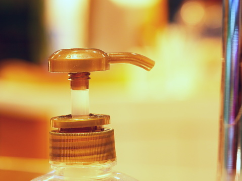 istock Hand Sanitizer Gel in Clear Pump Bottle head 1152280755